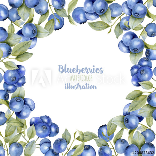 Card template with watercolor. Blueberries clipart border