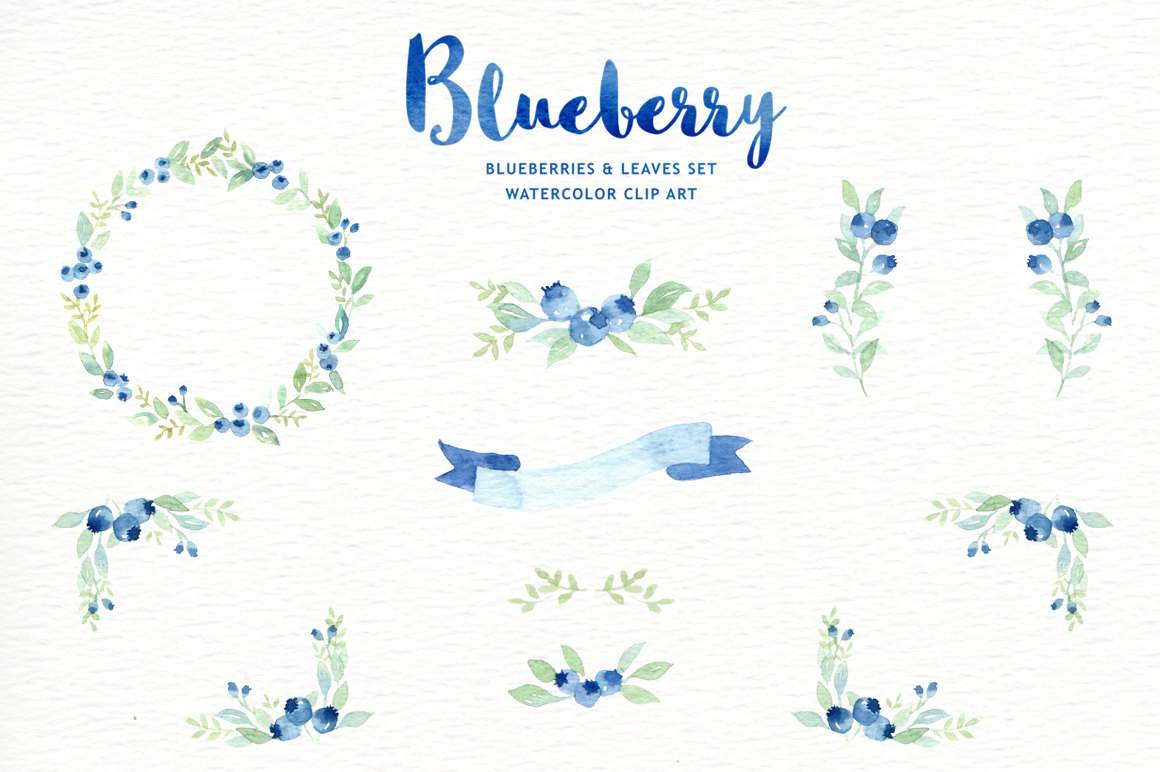 Blueberries clipart branch. Blueberry watercolor wreath flowers
