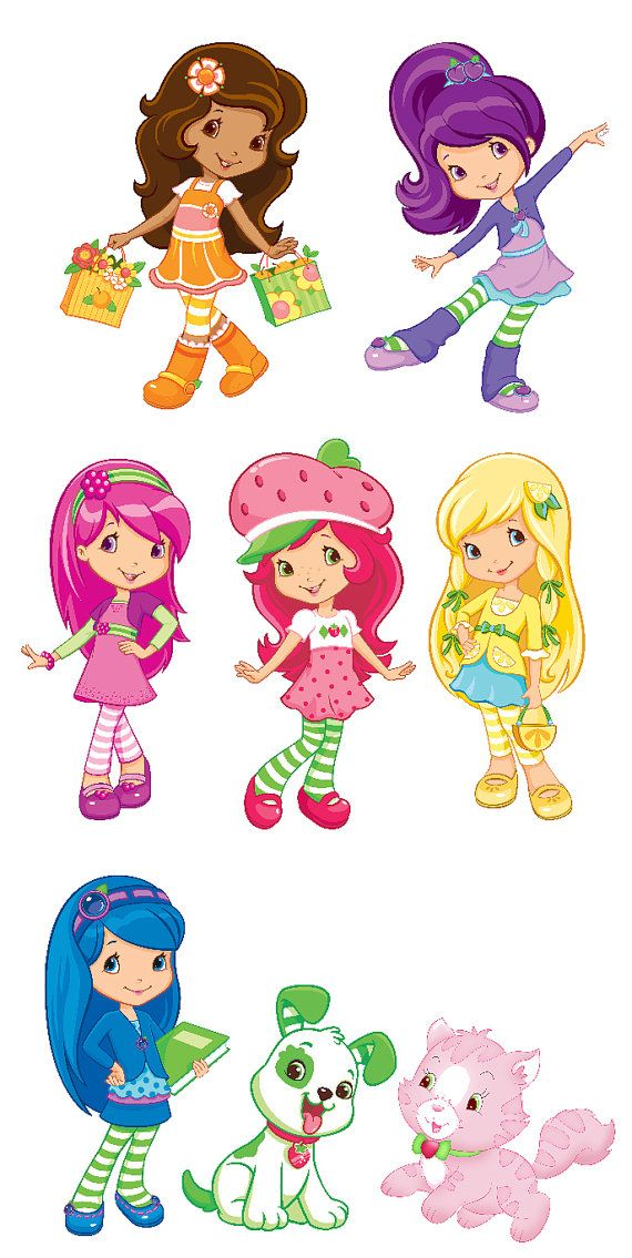 Strawberry shortcake set of. Blueberry clipart character