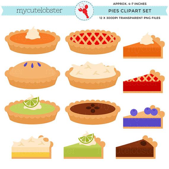 Pies set clip art. Blueberries clipart cute
