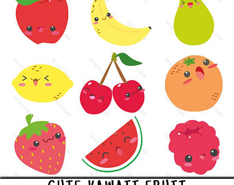 Kawaii fruit happy clip. Blueberries clipart cute