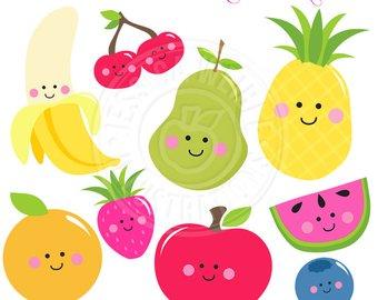Blueberries clipart cute. Kawaii fruit clip art