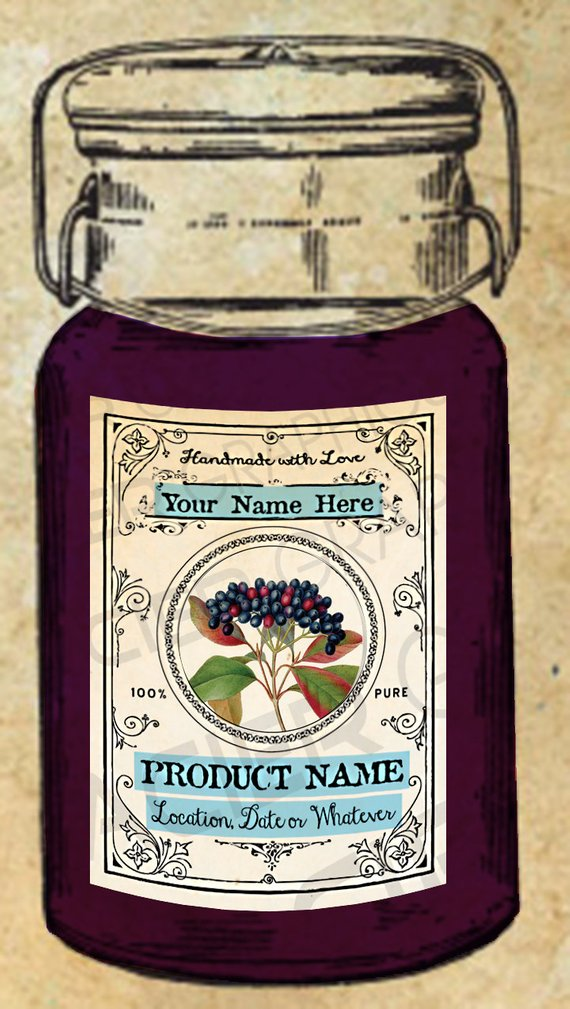 Label edlderberry syrup canning. Blueberry clipart elderberry