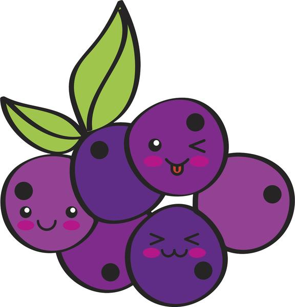 Blueberries clipart emoji. Happy bunch of grapes