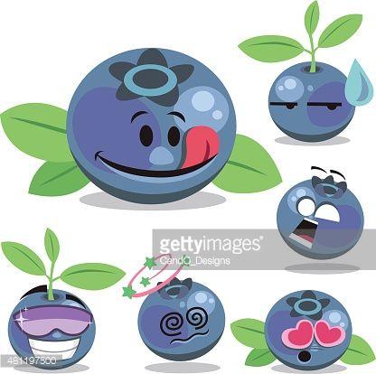 Blueberry cartoon set a. Blueberries clipart emoji
