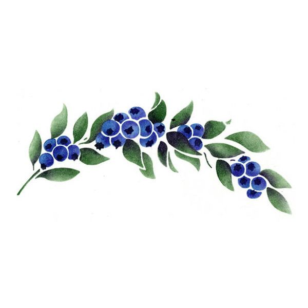 Stencils border garland stencilease. Blueberry clipart frame