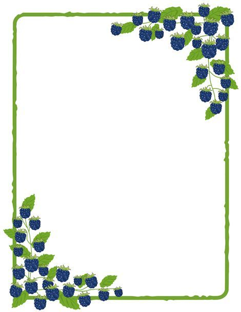 Printable blackberry border use. Blueberry clipart frame