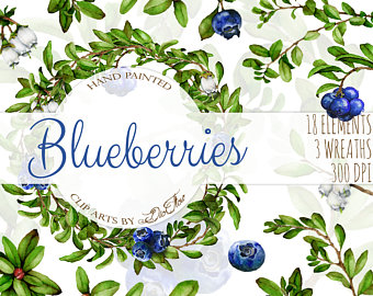 Blueberry clipart three. Jam label etsy watercolor