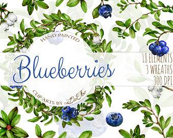 Blueberries clipart three. Blueberry jam label etsy