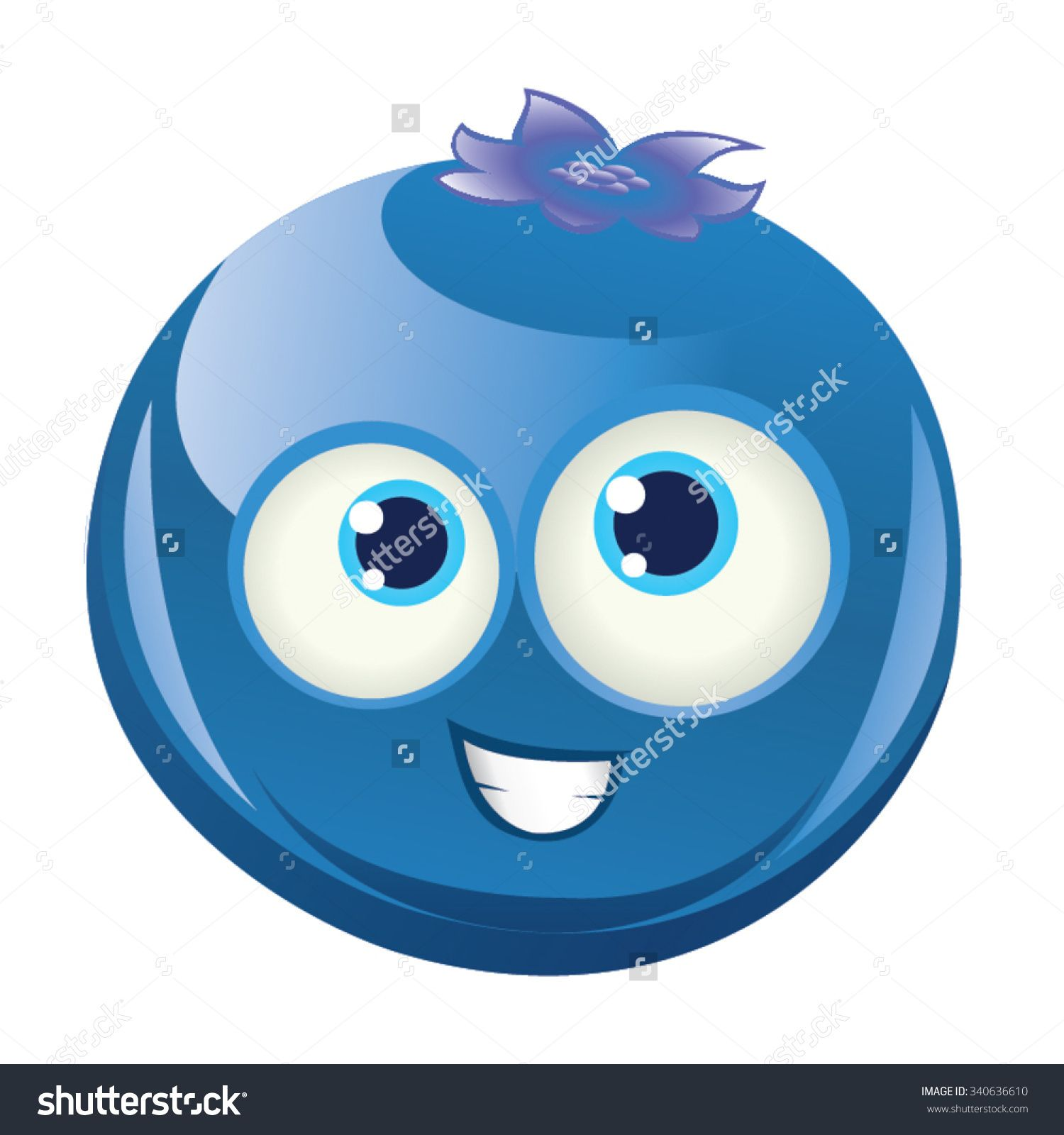 Smiling happy face blue. Blueberry clipart vector