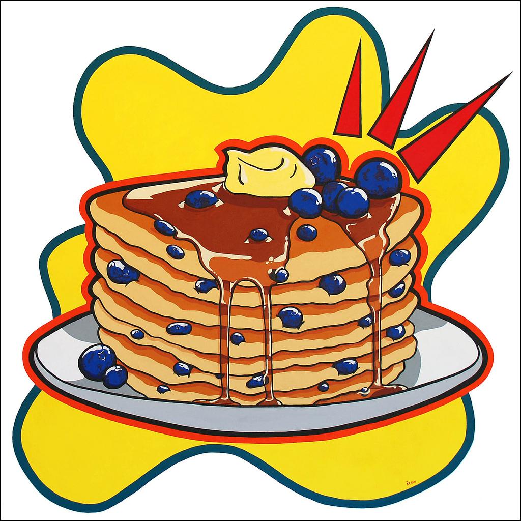 Blueberry clipart blueberry pancake. Pancakes acrylic on canvas