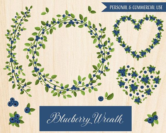 Blueberry clipart branch. Wreath heart berry from