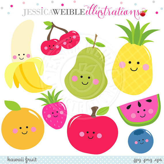 Kawaii fruit digital clip. Banana clipart cute