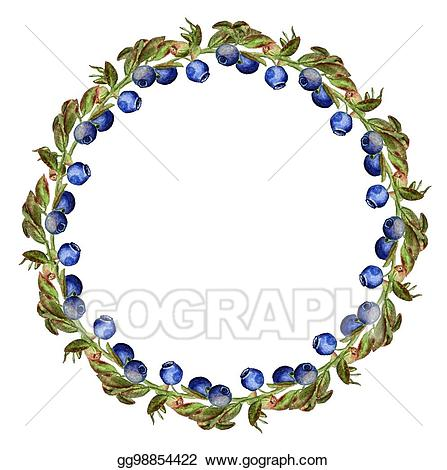 Blueberry clipart frame. Drawing round with