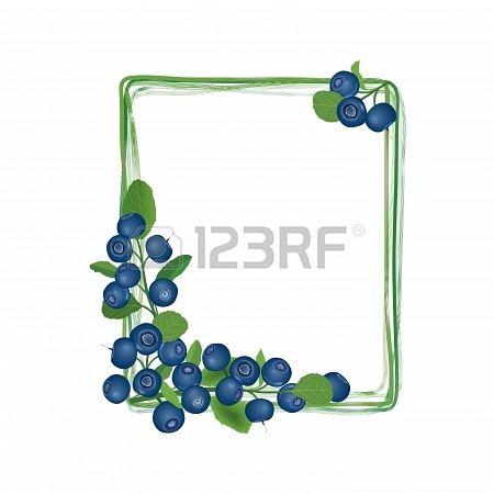 Stock vector paper crafts. Blueberry clipart frame