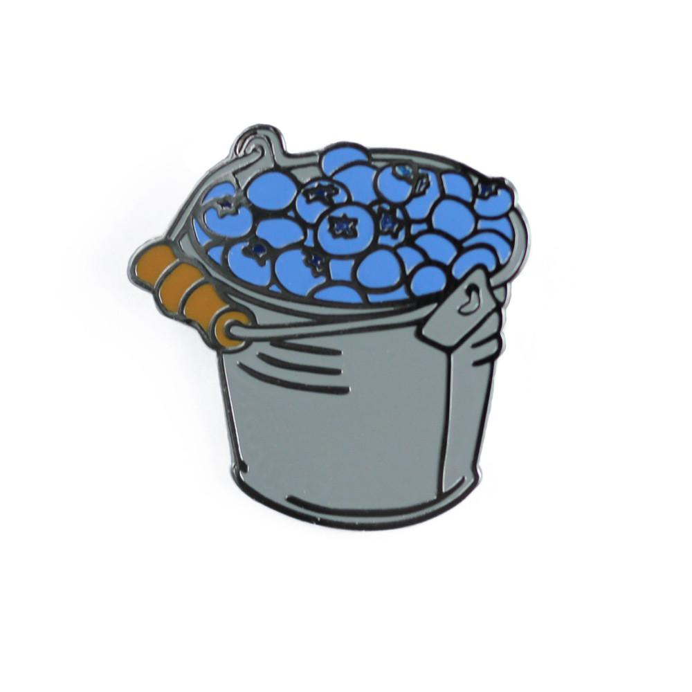 Bucket enamel pin . Blueberry clipart one blueberry