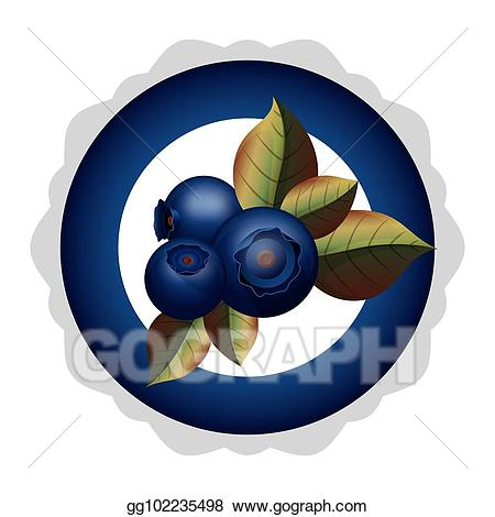 Blueberry clipart three. Vector stock plate with