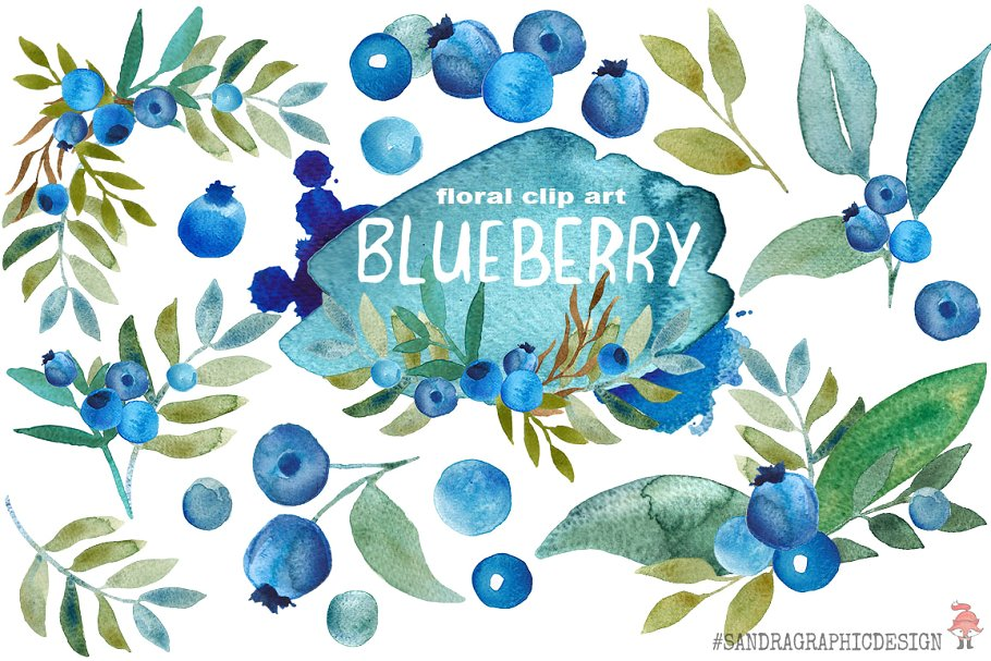 Blueberry clipart two. Watercolor clip art illustrations