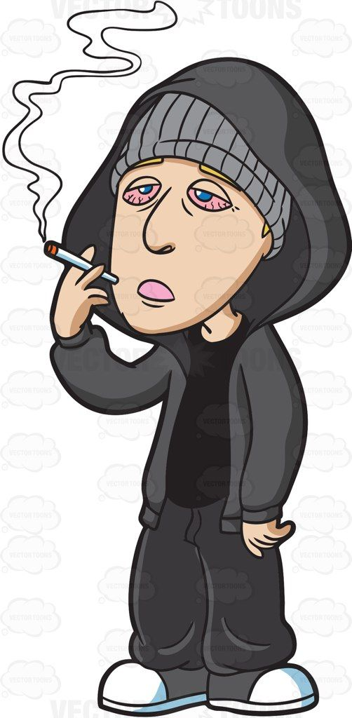 A drugged man smoking. Blunt clipart animated