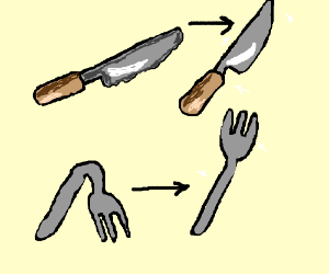 Blunt clipart blunt knife. The knives bend forks