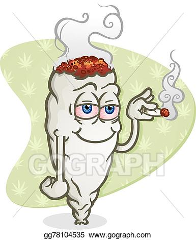 Vector art marijuana cartoon. Blunt clipart drawn