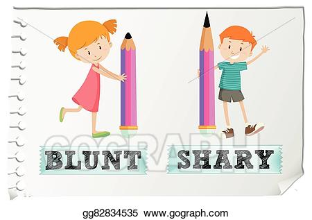 Vector opposite adjectives and. Blunt clipart sharp