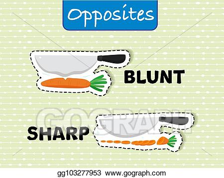 Vector opposite words for. Blunt clipart sharp