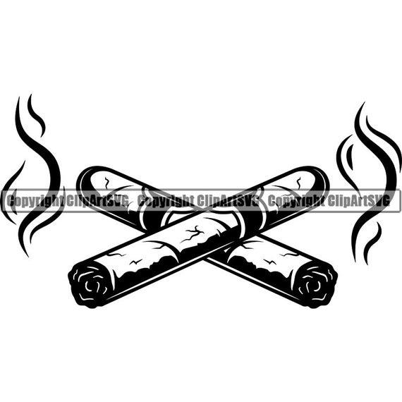 Cigars crossed smoking tobacco. Blunt clipart smoke