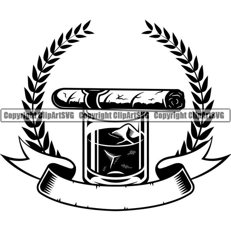 Logo smoking tobacco smoke. Blunt clipart vintage cigar