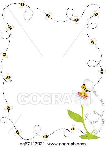 Bees clipart frame. Eps vector bee border