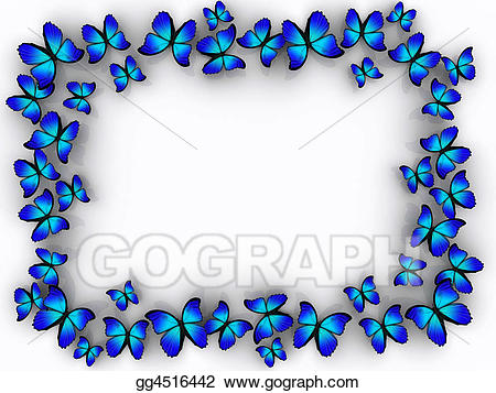 Stock illustration border gg. Boarder clipart butterfly