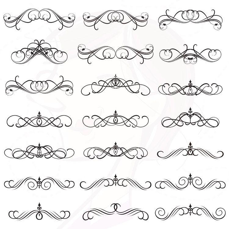 Swirl digital flourish clip. Boarder clipart calligraphy