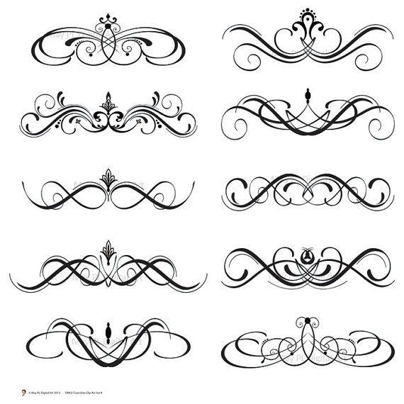 Boarder clipart calligraphy. Digital clip art flourish