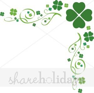 Four leaf flourish border. Boarder clipart clover