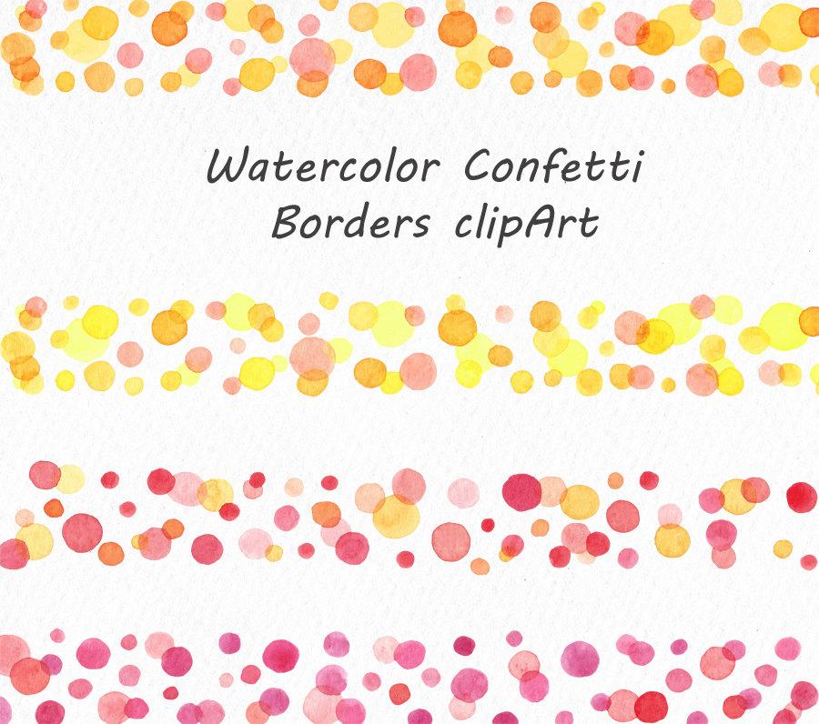 Watercolor borders clip art. Boarder clipart confetti