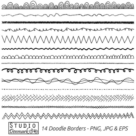 Boarder clipart doodle. Borders set commercial use