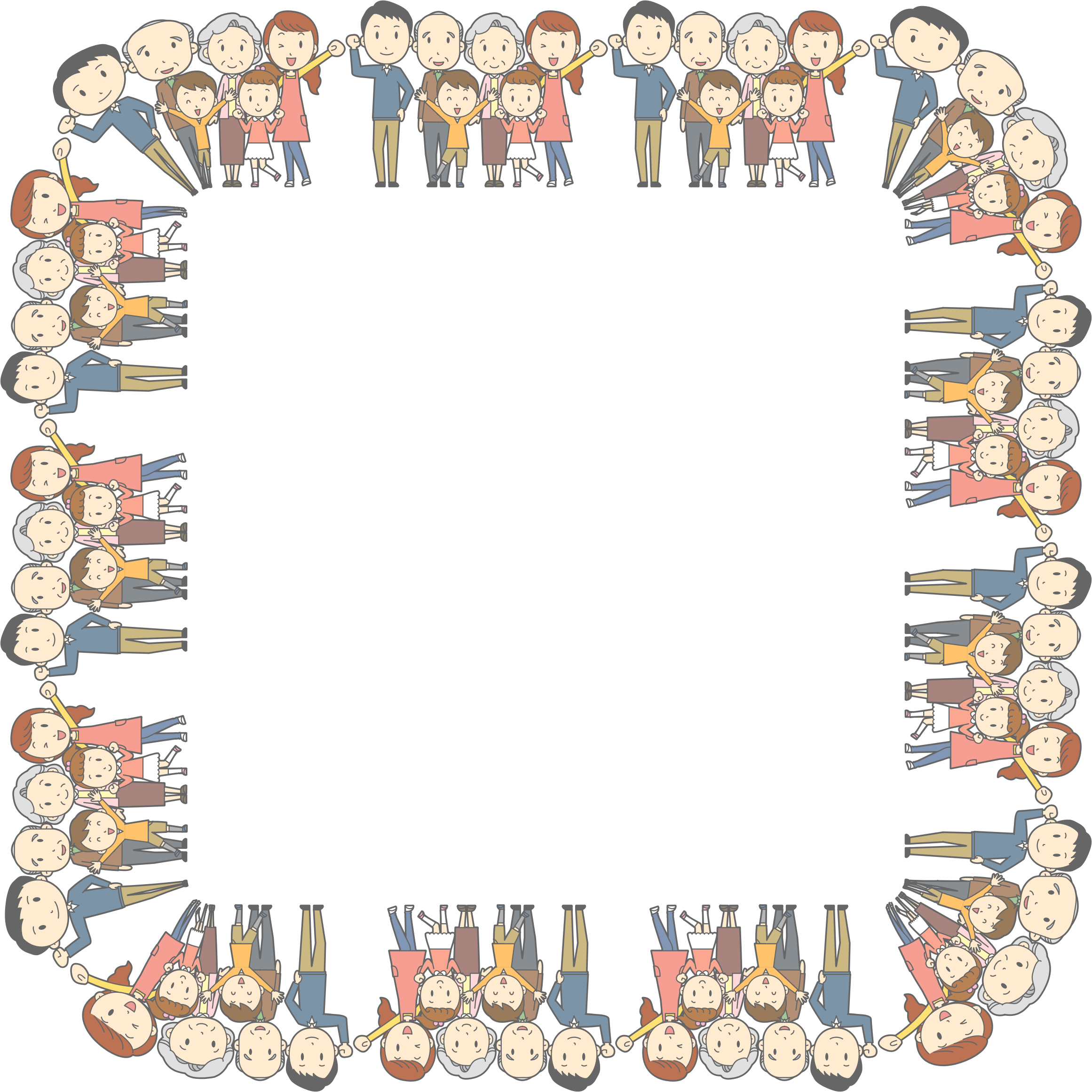 Boarder clipart family. Multigenerational square frame big