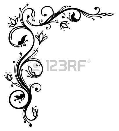 And abstract black flowers. Boarder clipart filigree