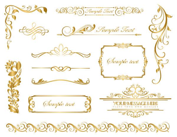 Instant download gold frame. Boarder clipart filigree