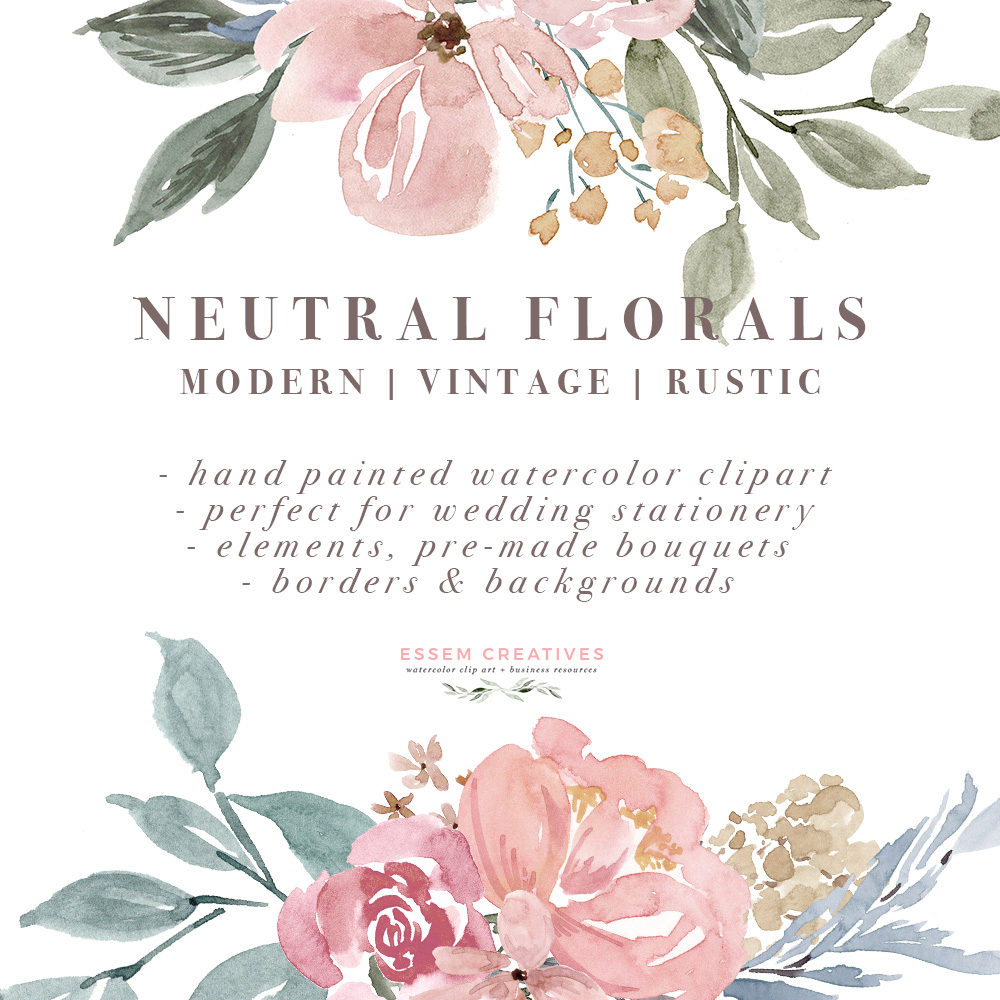 Neutral watercolor flowers borders. Boarder clipart floral