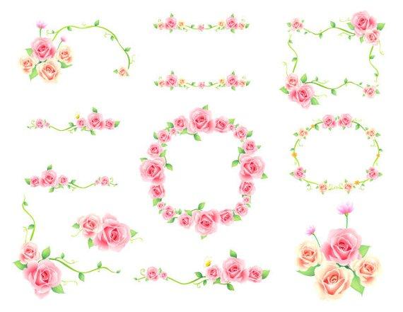 Boarder clipart floral. Digital flower frame pink