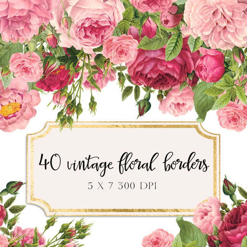 Vintage borders shabby chic. Boarder clipart floral