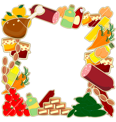 Free food borders cliparts. Foods clipart frame