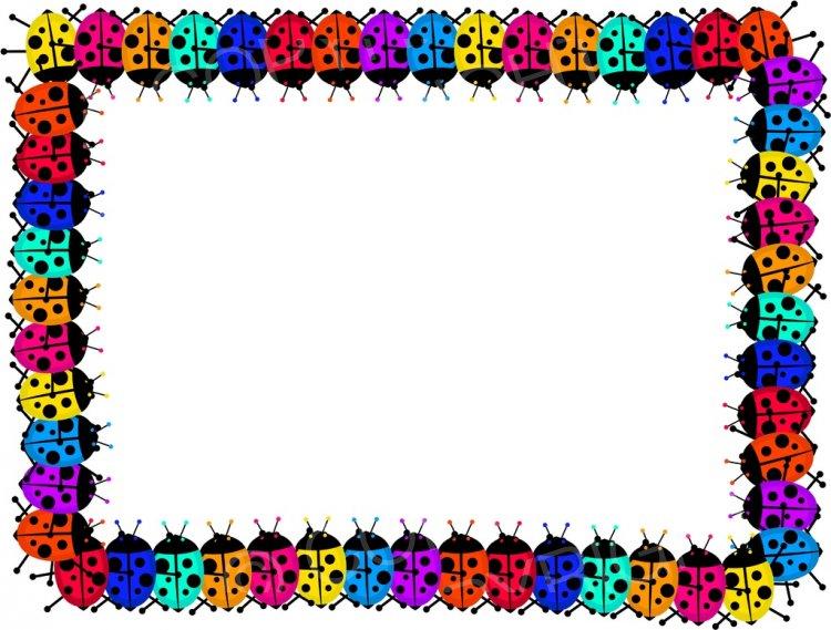 Cartoon ladybugs page border. Boarder clipart ladybug