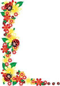 Boarder clipart ladybug. Free garden image illustration