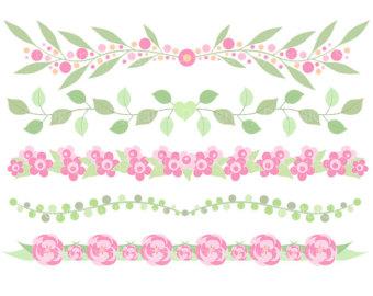 Boarder clipart line art. Floral border clip leaf