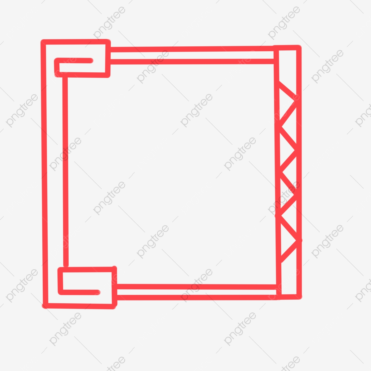 Red chinese style border. Boarder clipart minimalist