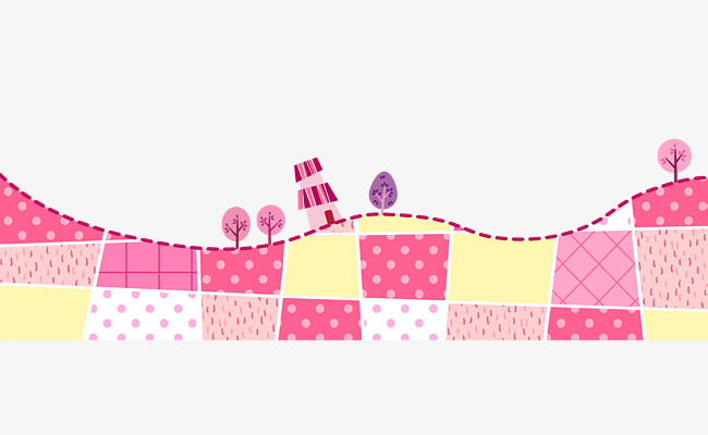 Pink cartoon grass border. Boarder clipart mosaic