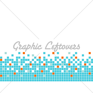 Blue pixel page border. Boarder clipart mosaic