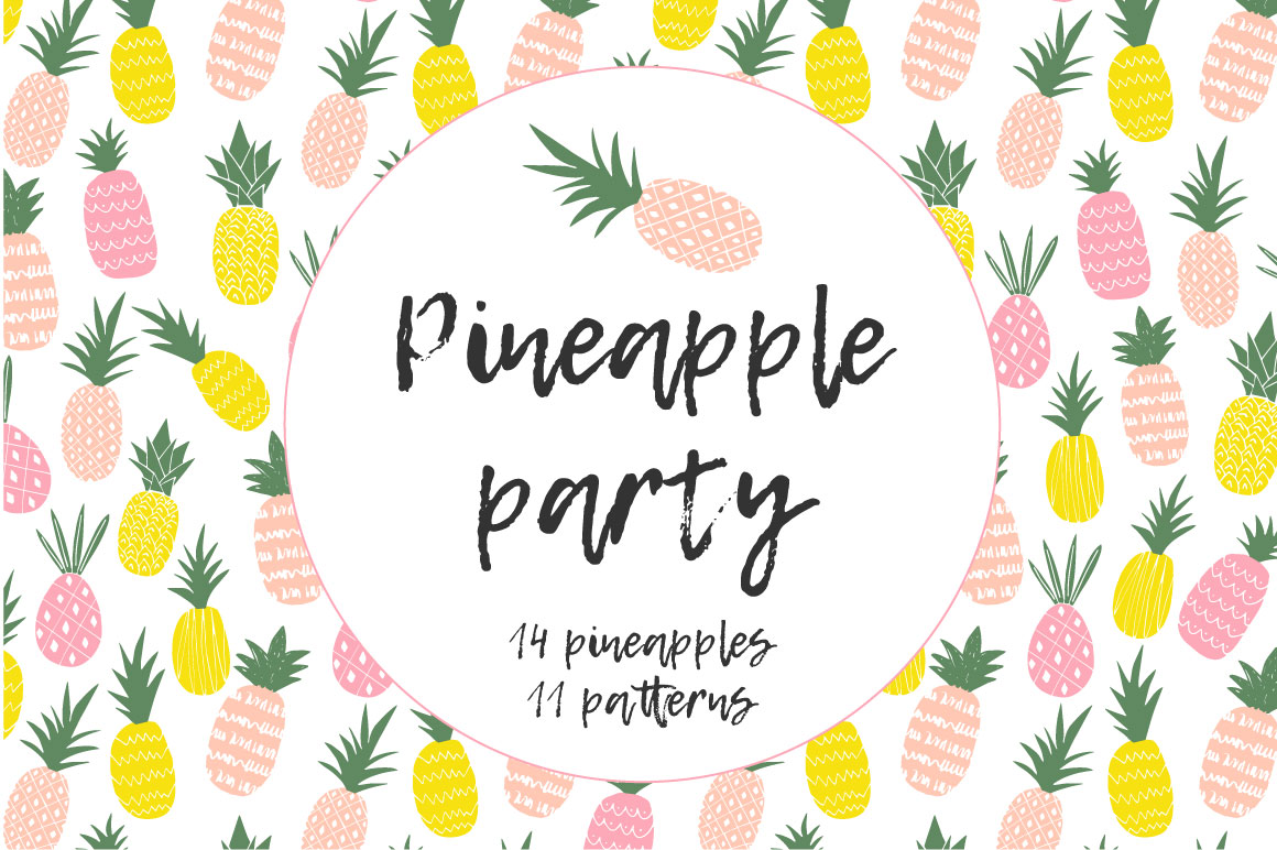 Party by anatartan design. Boarder clipart pineapple